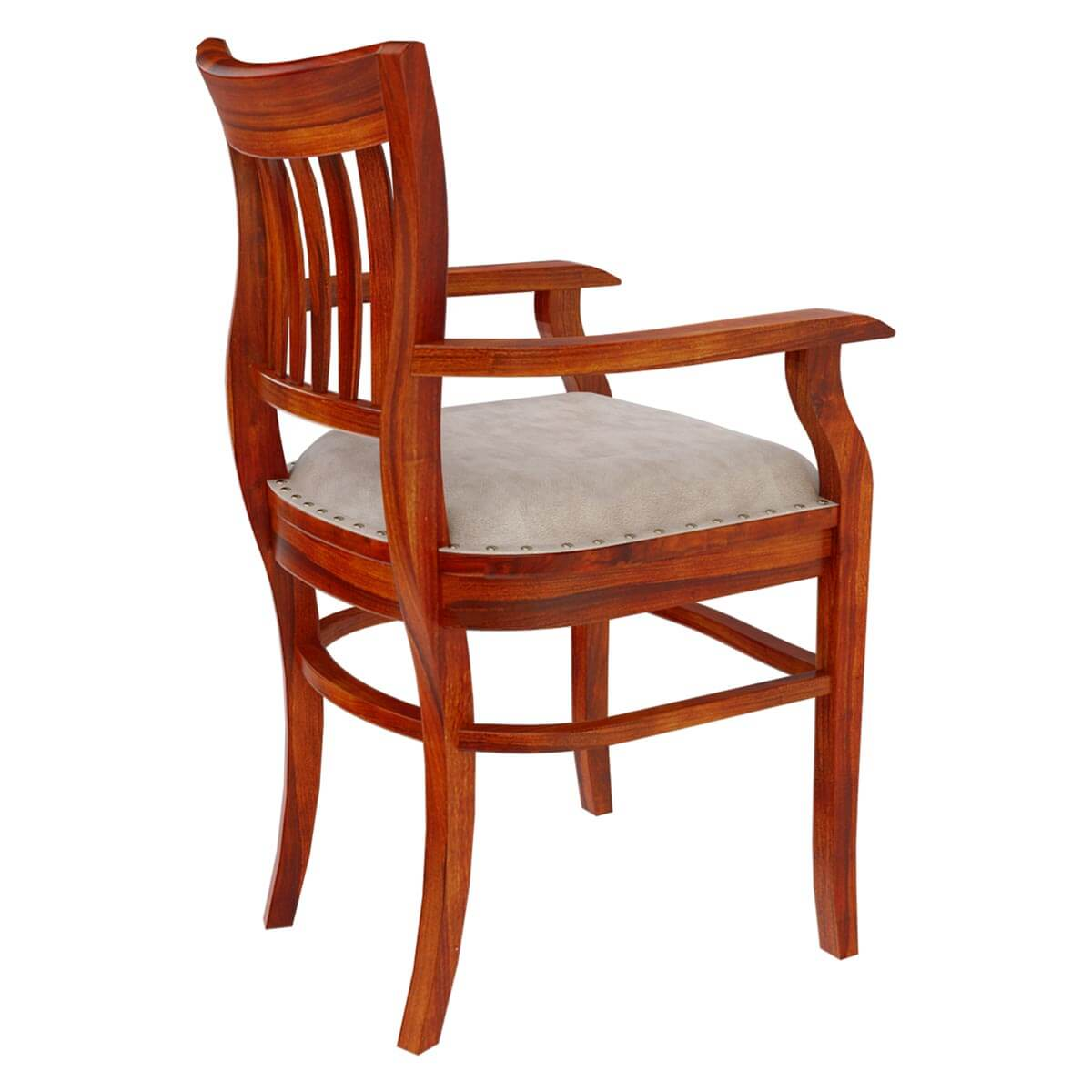 Wood Arm Chair Solid Wood Arm Chair Leather Cushion Dining Furniture