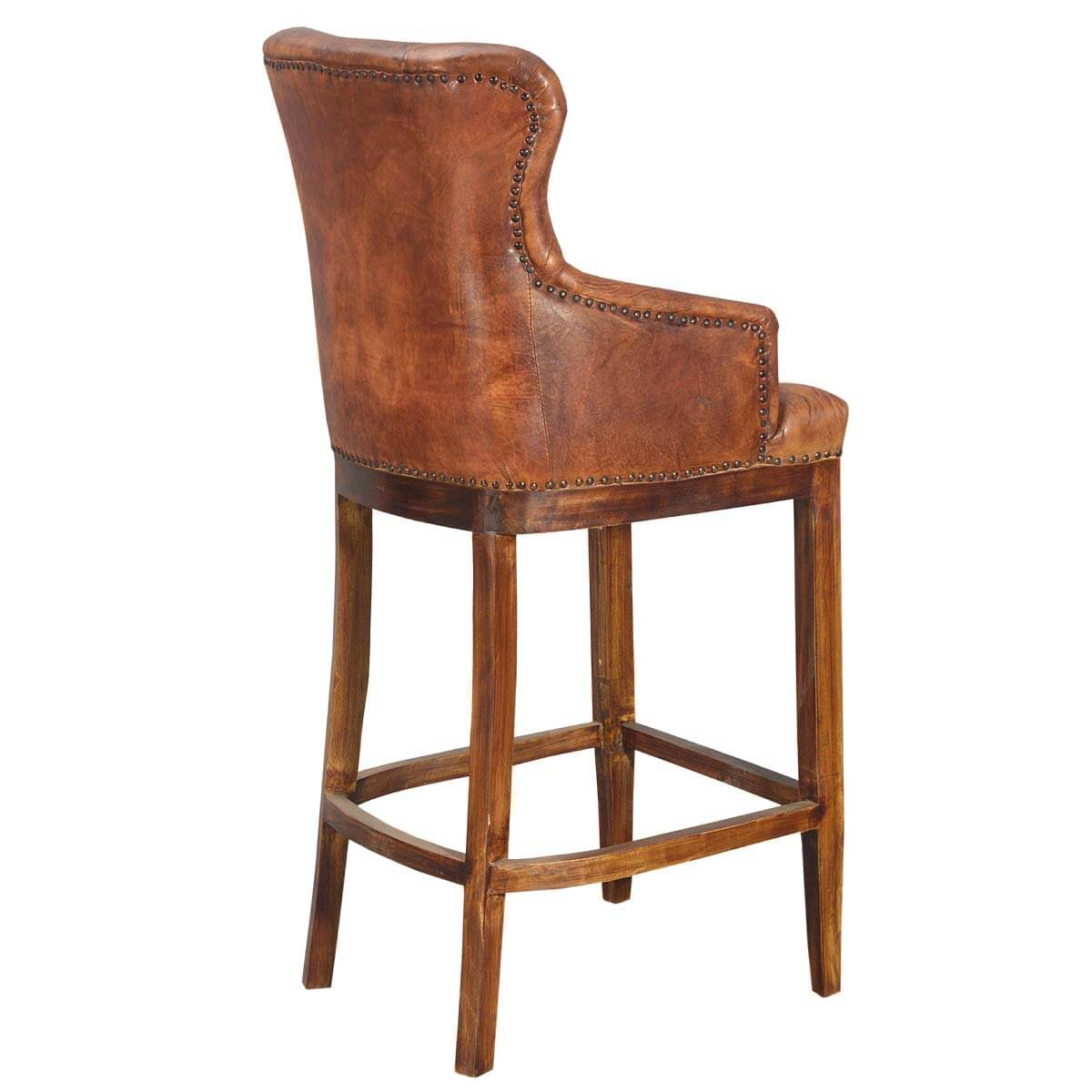 Handsome And Comfortable Bar Stool With Rich Leather