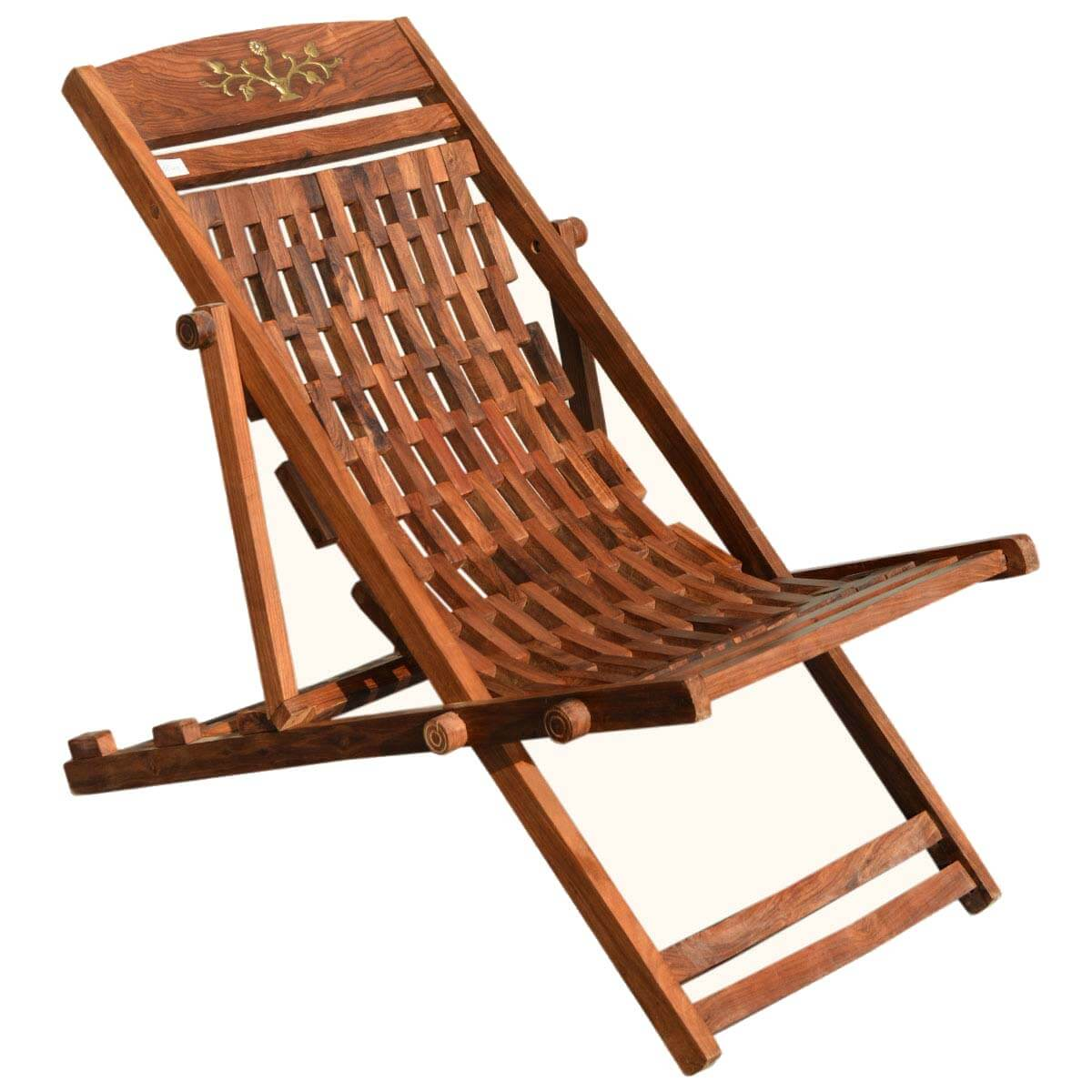 Wooden Lounge Chair Hassock Style Solid Wood Adjustable Lounge Chair