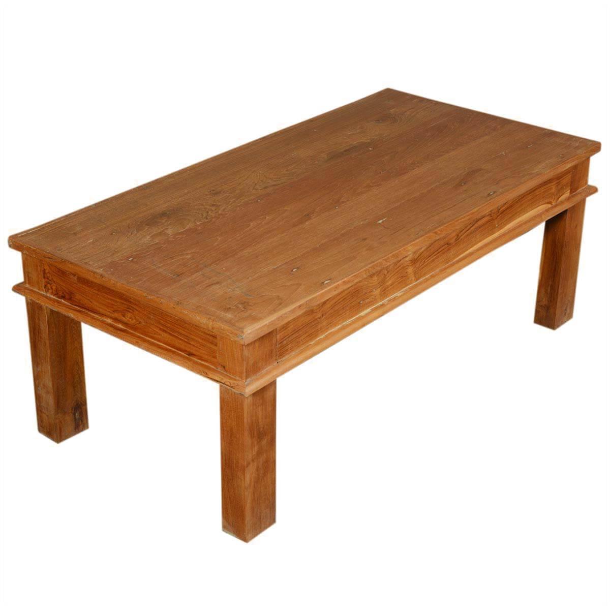 "48"" Solid Teak Wood Danish Rustic Coffee Table"