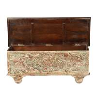 Spring Snow Mango Wood Rolling Coffee Table Storage Chest