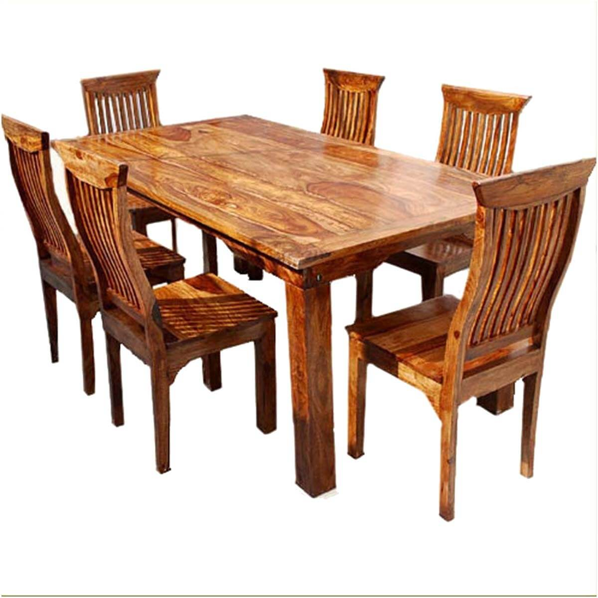 Dallas Ranch Solid Wood Rustic Dining Table Chairs & Hutch Set