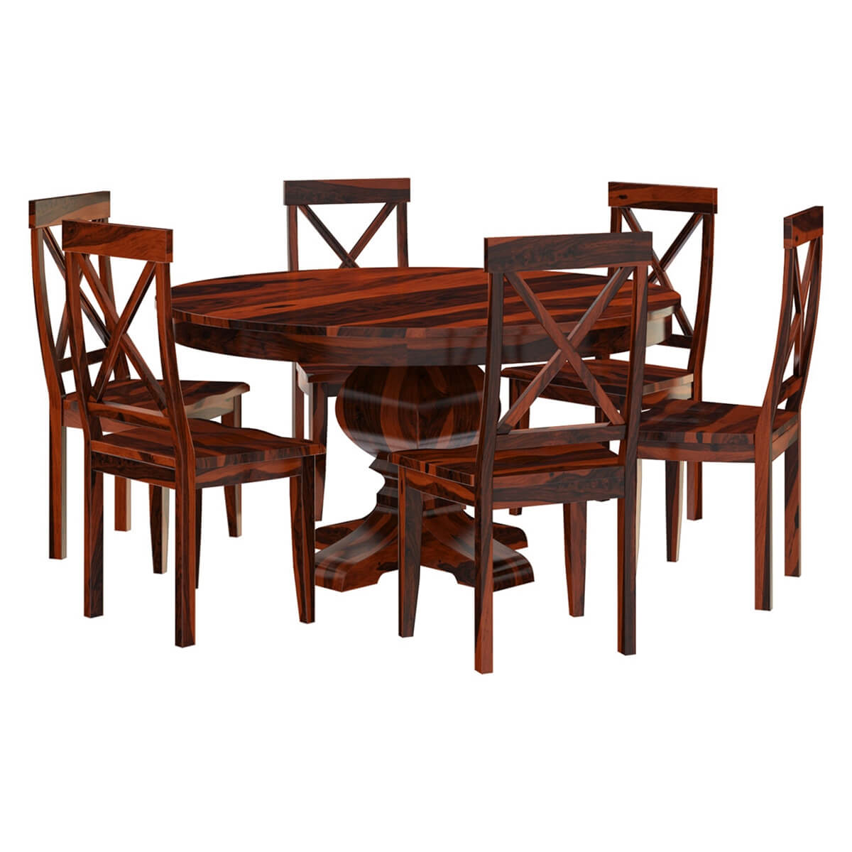 Round Dining Table And Chairs Missouri Solid Wood Round Pedestal Dining Table And Chairs