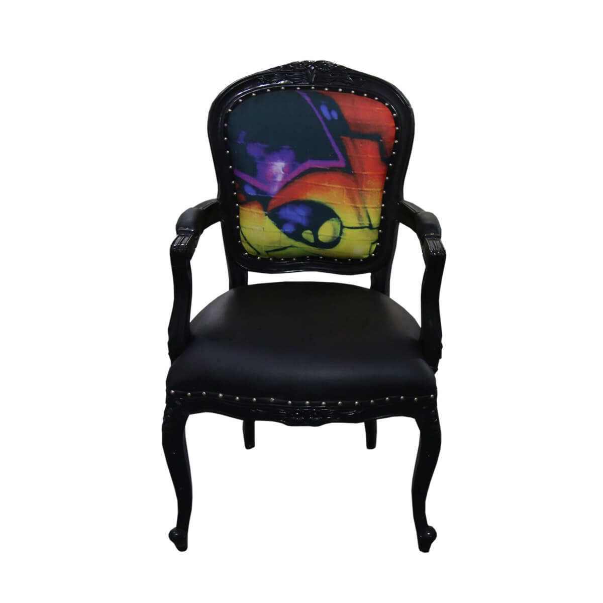 Colorful Wooden Chairs Horsham Colorful Graffiti Solid Wood Traditional Black Arm