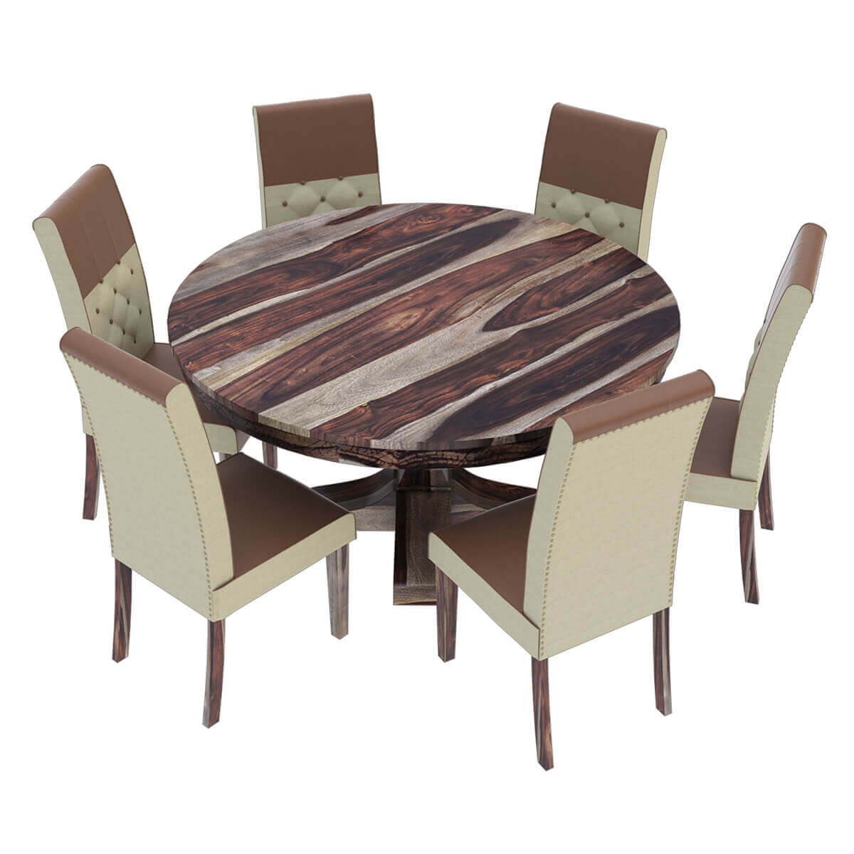 Round Dining Table And Chairs Hosford Handcrafted Solid Wood Round Dining Table And 6