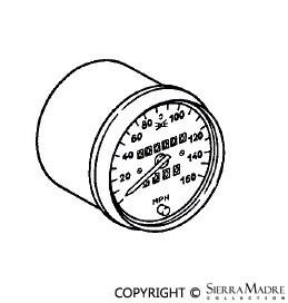 Porsche Parts Speedometer Gauge, 911 Carrera (260KM/H)