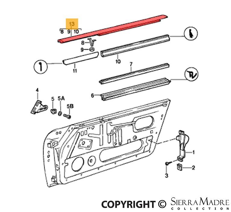 Porsche Parts Window Moulding, Right, 911 (84-89)
