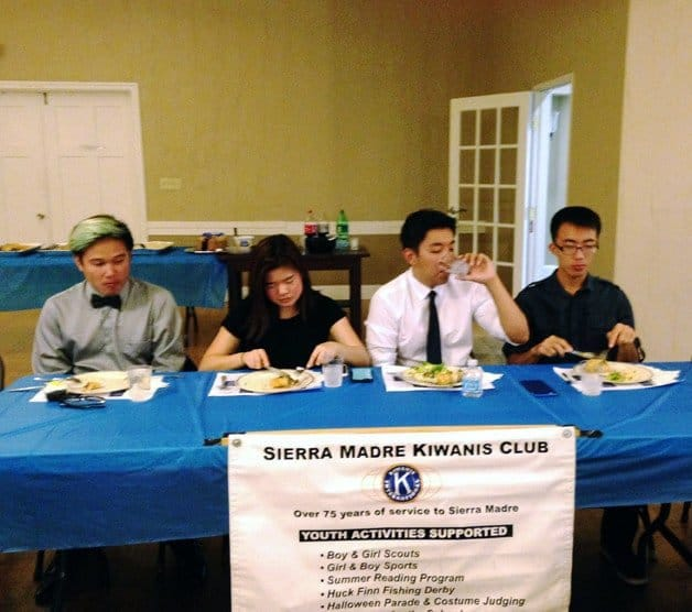 Sierra Madre Kiwanis Annual Installation Dinner meeting with members of the Key Club and the Builders Club.