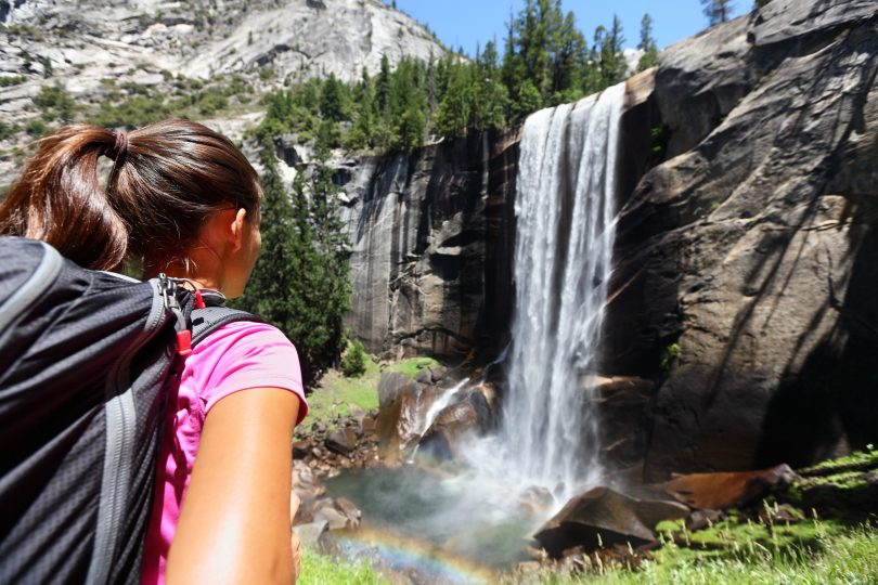 Vernal falls Yosemite National park Female hiker