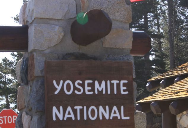 Yosemite NP East entrance sign and Flag