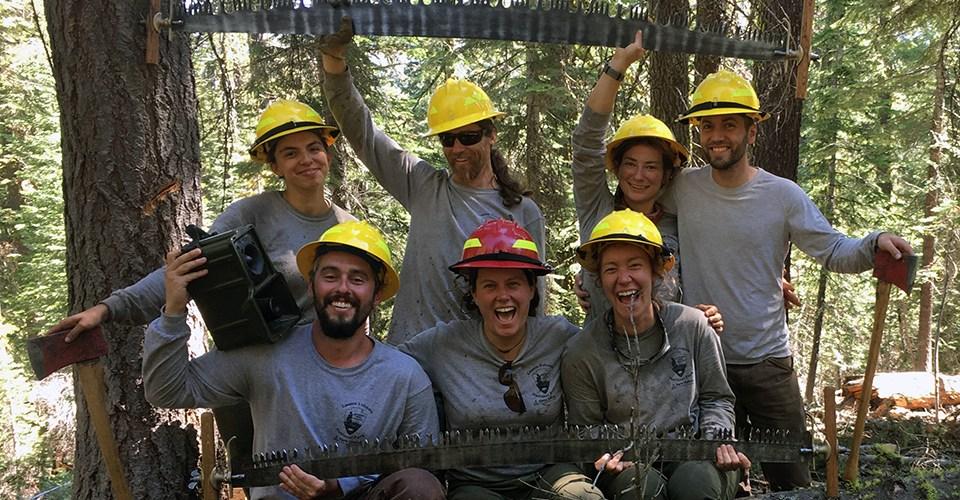 Members of the Sierra Institute wilderness fuels module in Lassen Volcanic National Park in 2019. Sierra Institute