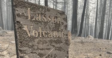 Juniper Lake sign Lassen Volcanic National PArk