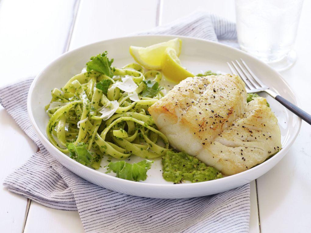 pan-seared alaska cod over minted pea puree