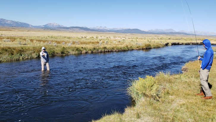 Two Anglers on the Upper Owens River near Mammoth Lakes CA