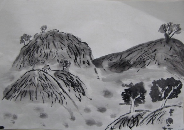 Image result for chinese house mountains draw