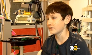 Evan Podsiad, 13, interviewed on CBS News Los Angeles.