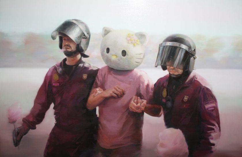 """""""""""Hello Kitty"""" es arrestado en la puerta del Sol"""", de José Salguero"""