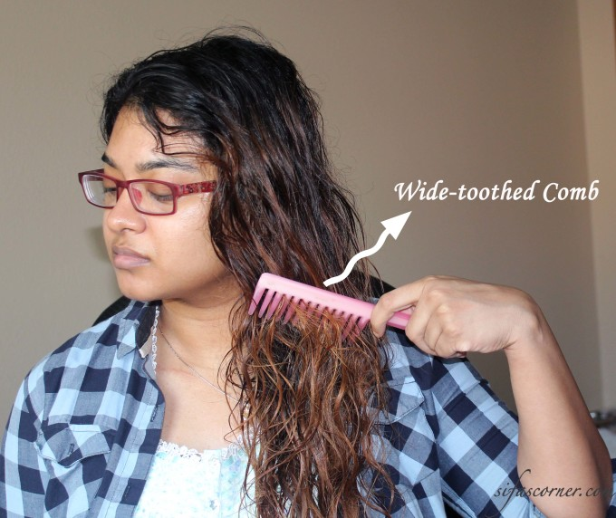 Combing with a wide toothed comb