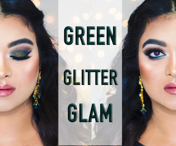 Green Glitter glam makeup tutorial