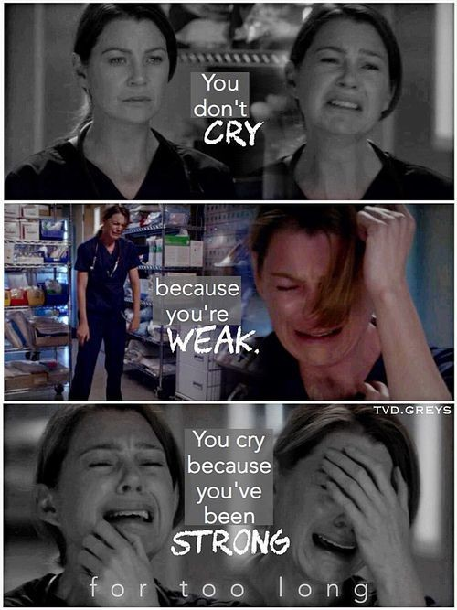 Meredith Grey from the show Grey's Anatomy in an emotional scene.