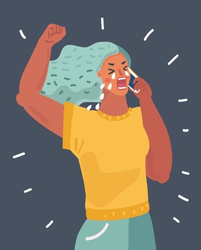 A woman crying while on phone. Her arm symbolizes strength through pain.