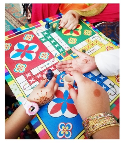 Me, my friends and kids at her place playing Ludo game.