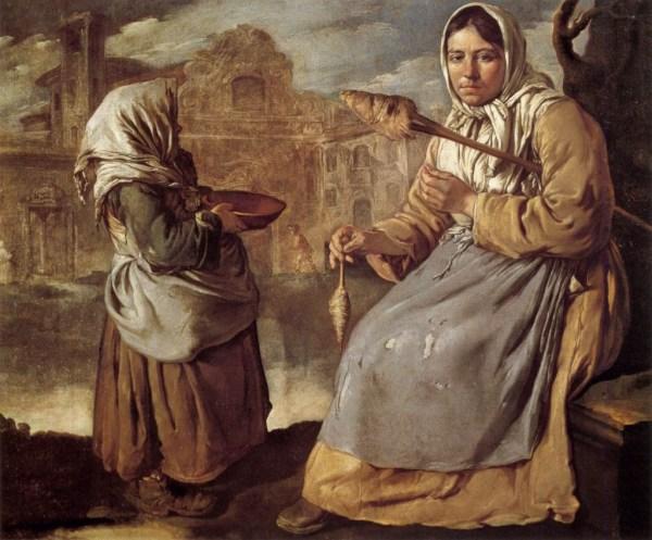 Giacomo_Ceruti_-_Little_Beggar_Girl_and_Woman_Spinning_-_WGA4670