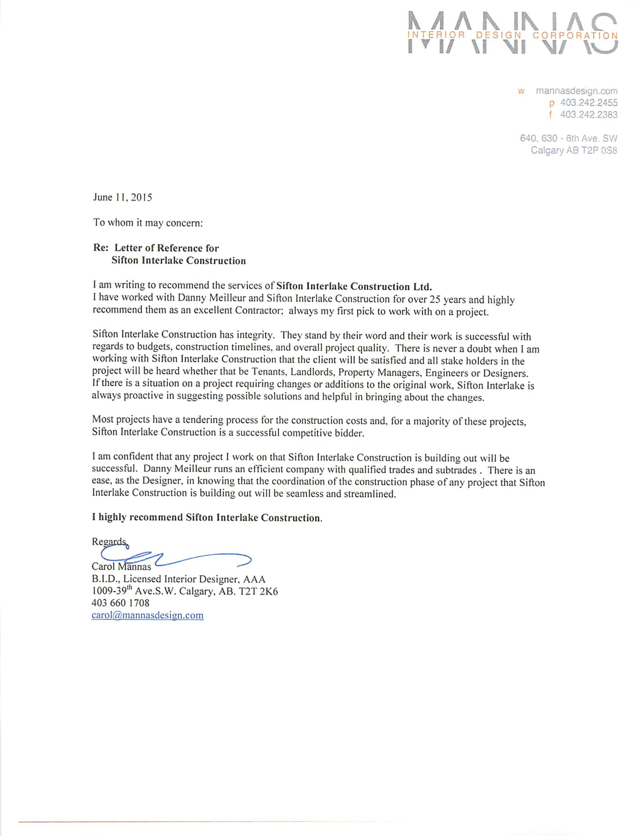 Mannas Interior Design Corp Letter of Reference  Sifton Interlake Construction LTD