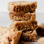Gluten Free Peanut Butter Blondies stacked on top of each other