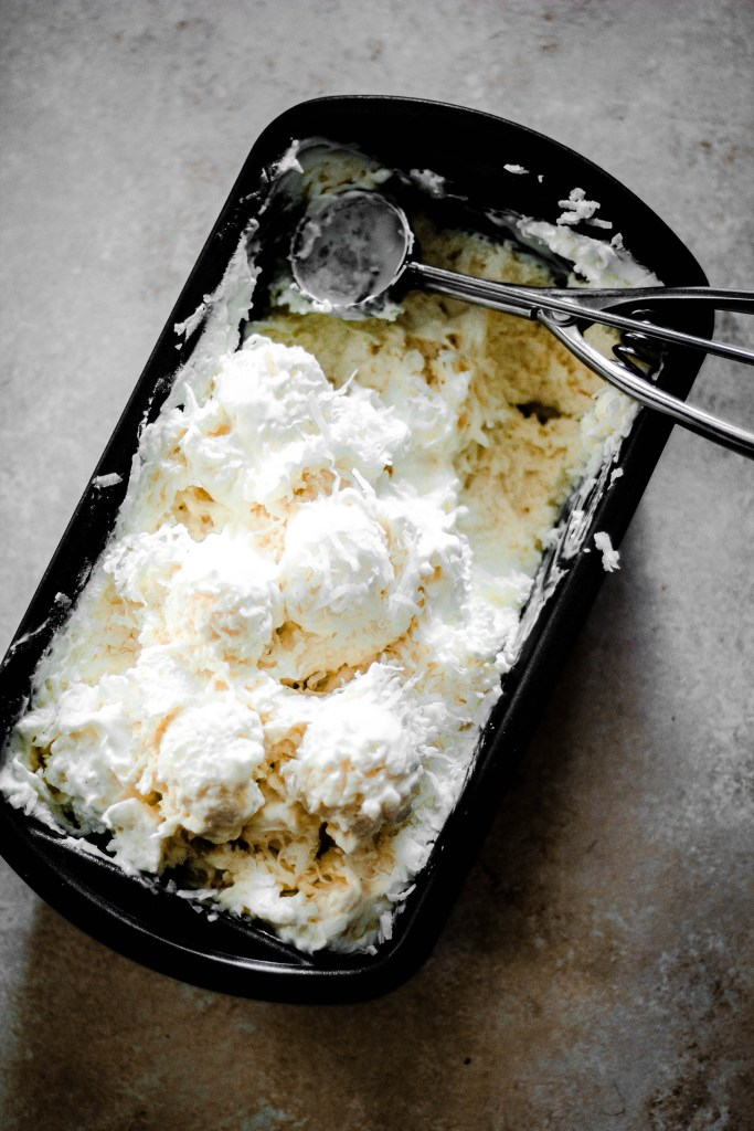 No Churn Coconut Ice Cream Recipe in black container