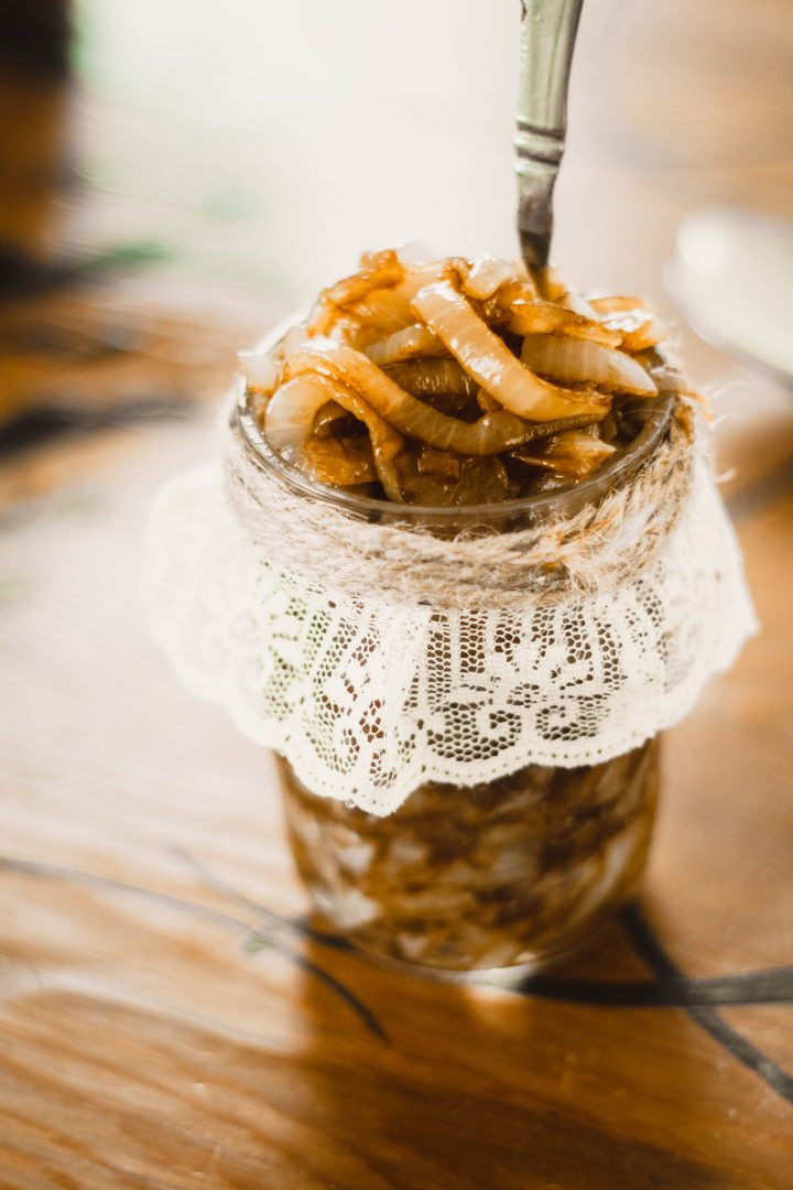 caramelized onions in a jar