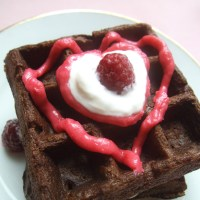 Minimal Ingredient Mondays- Chocolate Waffles with Natural Pink Raspberry Frosting