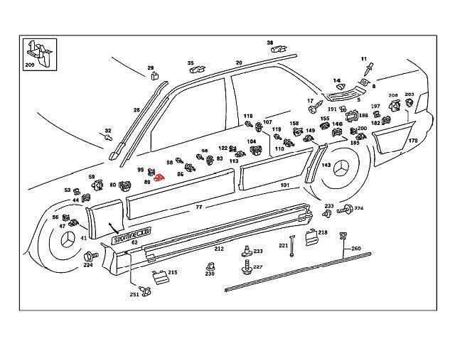 Mercedes w124 Door Lower Moulding Clip (x10) body fender