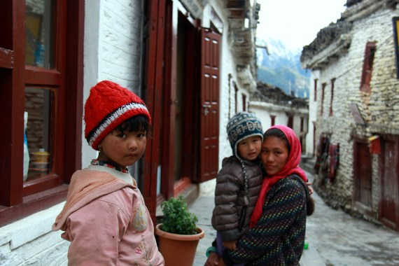 Family in Marpha, Nepal