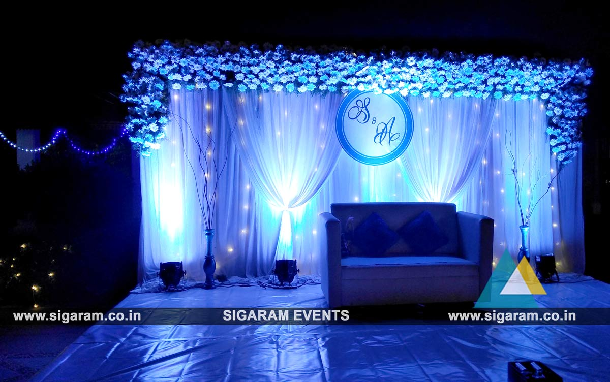 Outdoor Wedding Stage Decoration at RKN Beach Resort Pondicherry SIGARAM WEDDING DECORATORS