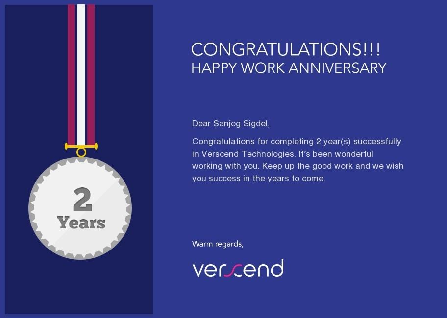 2 Years at Verscend   My Work Anniversery