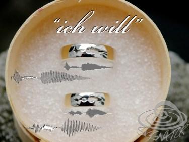 """""""ich will"""" Trauringe mit Soundwelle"""