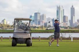 Golf in Maylands with Perth City backdrop