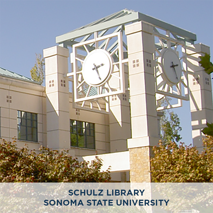 "Schulz Library in Sonoma State University, Photo Credit: Stepheng3 [<a href=""https://creativecommons.org/licenses/by-sa/3.0"">CC BY-SA 3.0</a>], <a href=""https://commons.wikimedia.org/wiki/File:SSU_Schultz_Library_4630.png"">via Wikimedia Commons</a>"