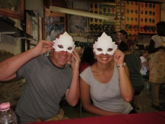 Modeling our masks before we got to work