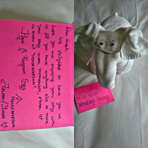 Received this cute elephant made from towel and a handmade note from the housekeeping team when we return to our room on the last night of our stay