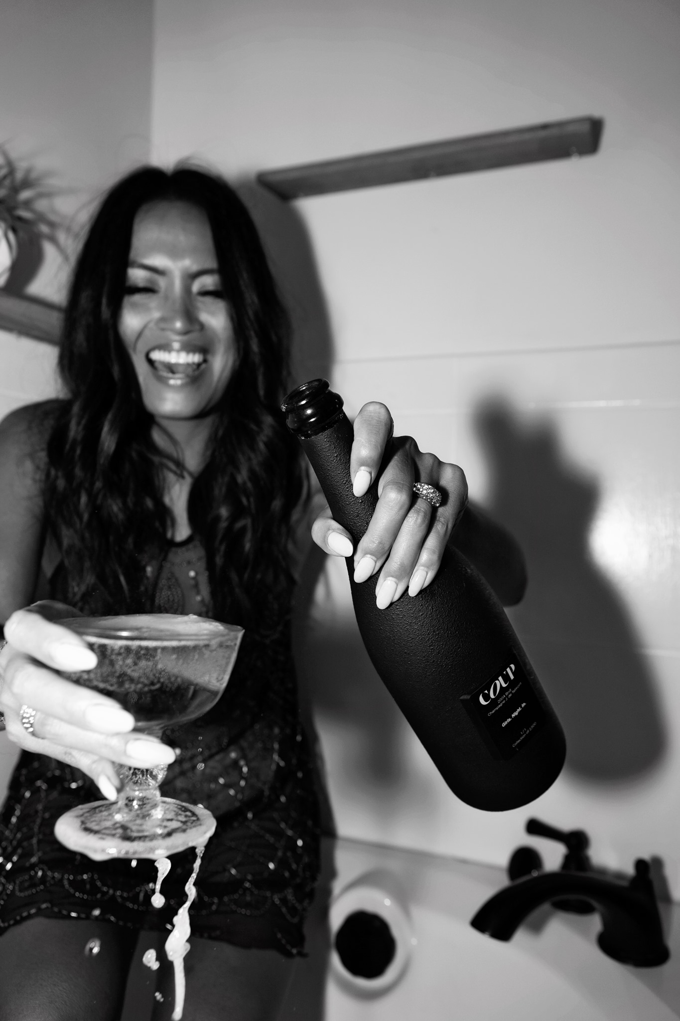 Coup Culture champagne product commercial photography black and white california