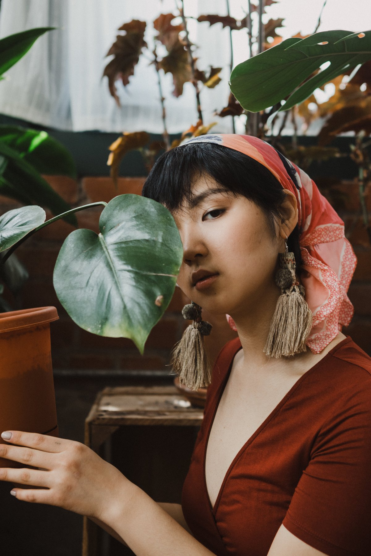 fashion photography street style kansas city missouri plant portrait