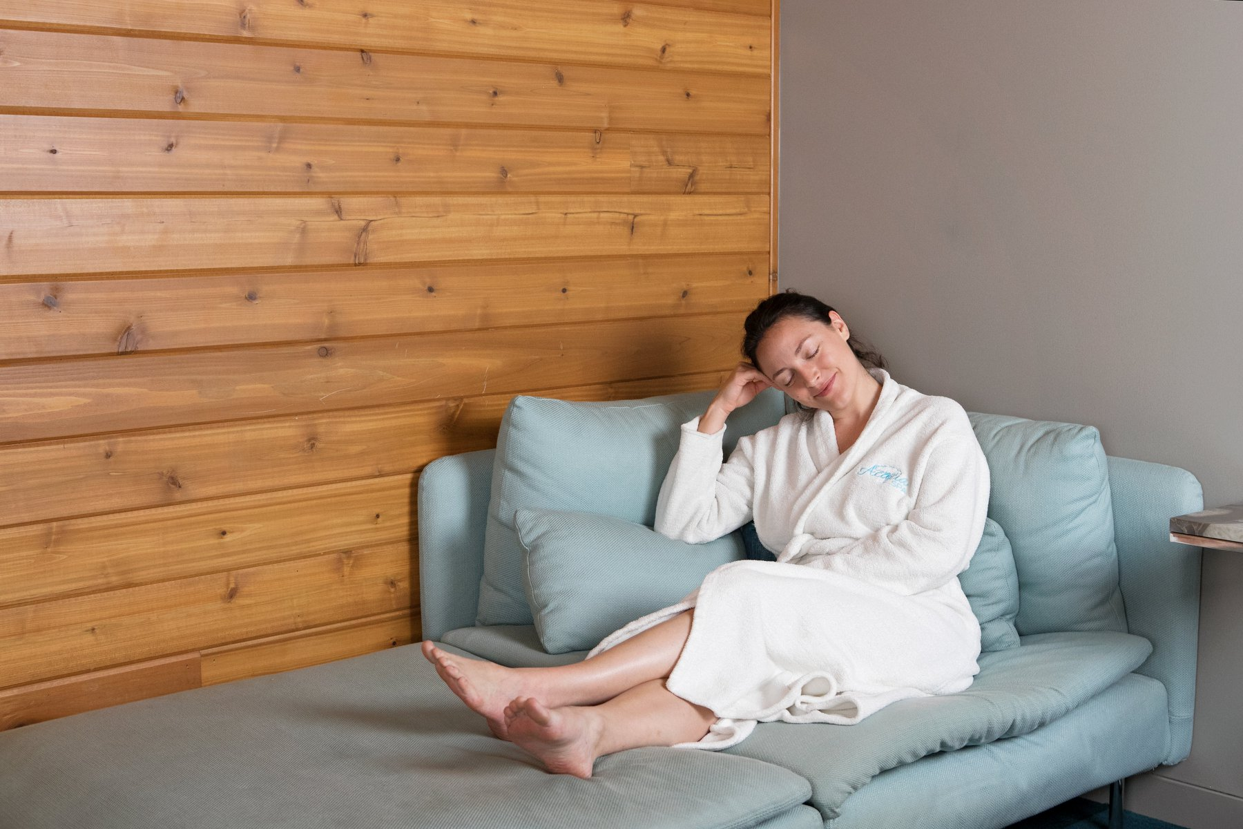 acacia spa springfield missouri woman relaxing robe