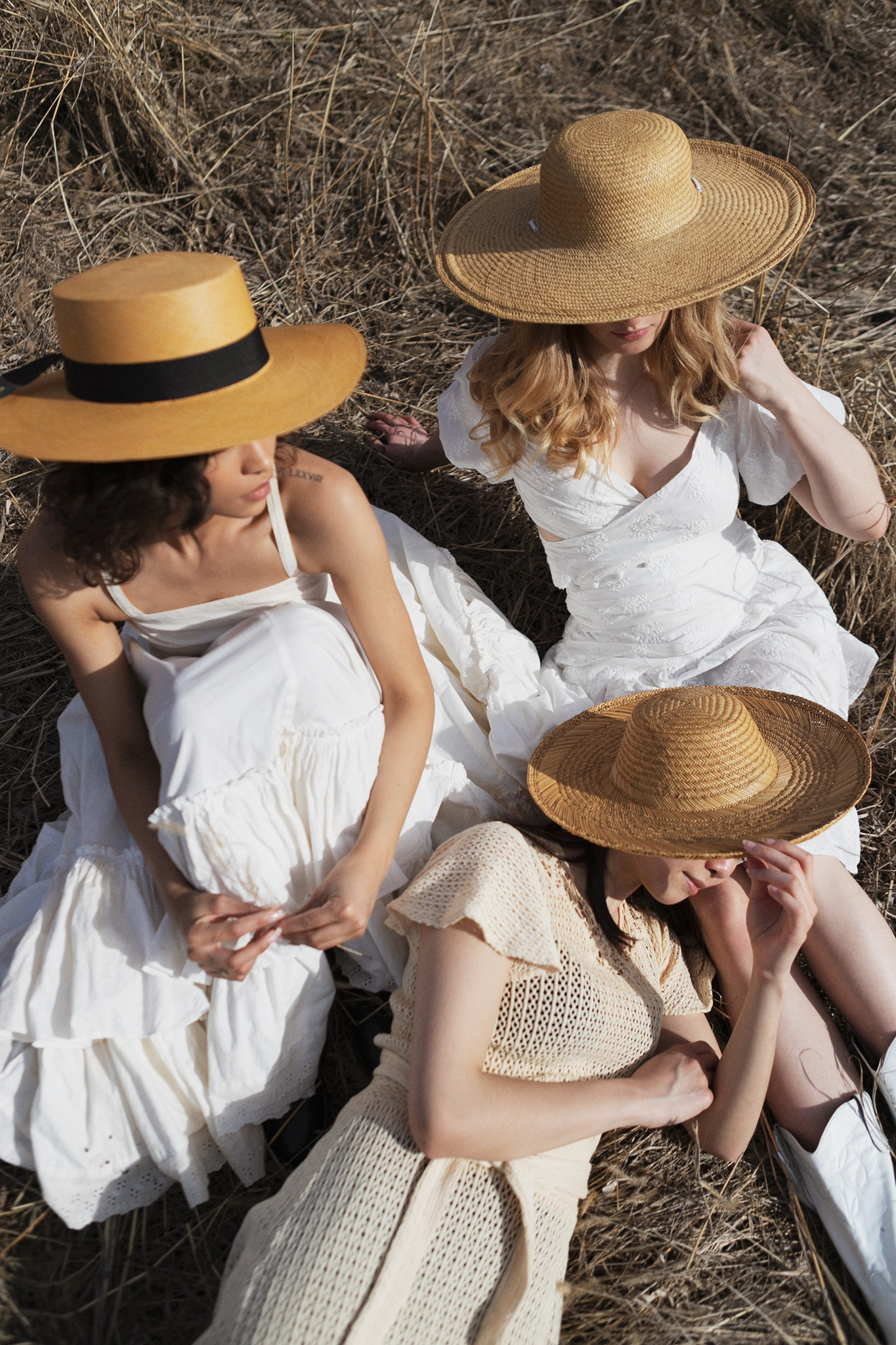 Spring editorial romantic prairie farm white dress straw hat House of Sunny Lack of Colors sustainable fashion Kansas City