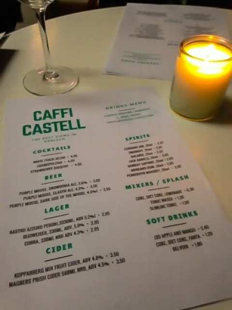 Caffi Castell Tapas Restaurant: Drinks Menu