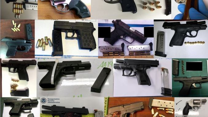 Guns confiscated at TSA checkpoints.