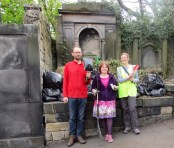 Susan, her husband Gareth, and a volunteer, at our graveyard tidy-up day, April 2017.