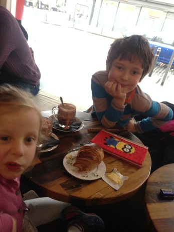 Enjoying hot chocolates (for Felix and Lotte) and a latte (for me), winter 2016