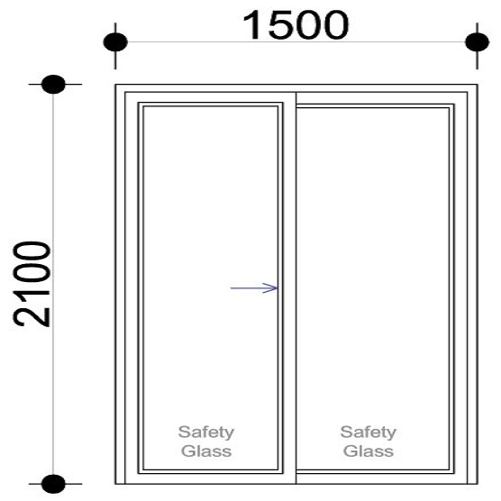sd1521 ox aluminium sliding door